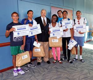 Dr. William R. Harvey and some of the Bahamian students