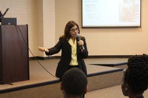 Marisa Porto speaking at the Meet the Leaders Lecture Series