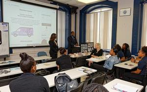 Kamala Lopez and Dr. Jarris Louis Taylor, Jr. speak to WRHLI students about the Equal Rights Amendment