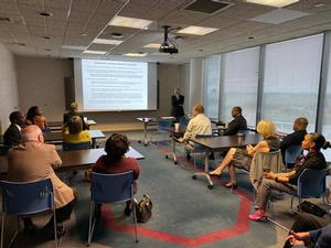 Dr. Patrick McCormick speaks to Hampton City officials about the Center