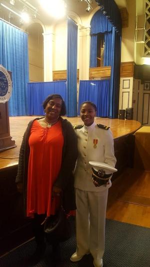 Ensign Wormley with her High School Counselor,Geanetta Everette.