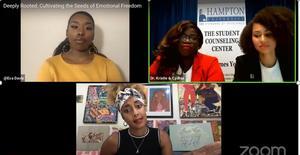 Hampton University student Eva Davis, Dr. Kristie Norwood, Cydnia Young, and Amanda Seales
