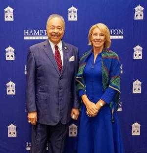 Dr. William R. Harvey, Hampton University President and Betsy DeVos, U.S. Secretary of Education