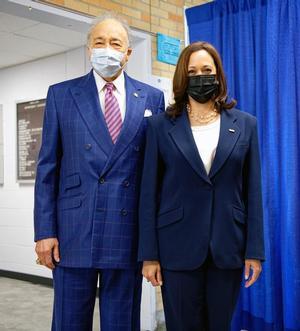 Hampton University President, Dr. William R. Harvey with U.S. Vice President Kamala Harris