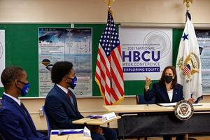 VP Harris discusses the importance of HBCUs and minorities in STEM fields with Hampton University students