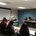 Student Support Services participants receiving information about George Mason University's School of Public Policy programs.