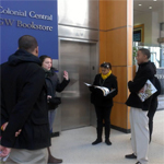 George Washington University tour guide answering questions from SSS participants.